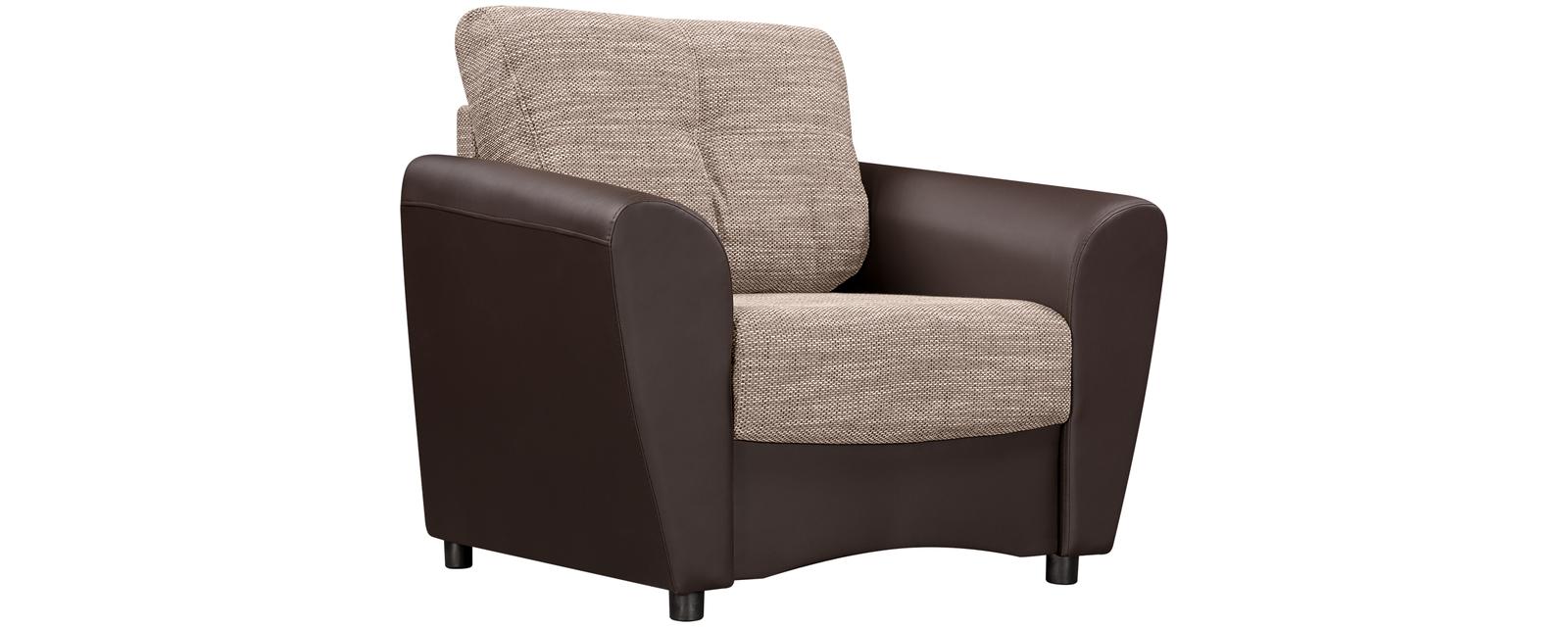 Кресло тканевое Амстердам Sola коричневый (Ткань + Экокожа)