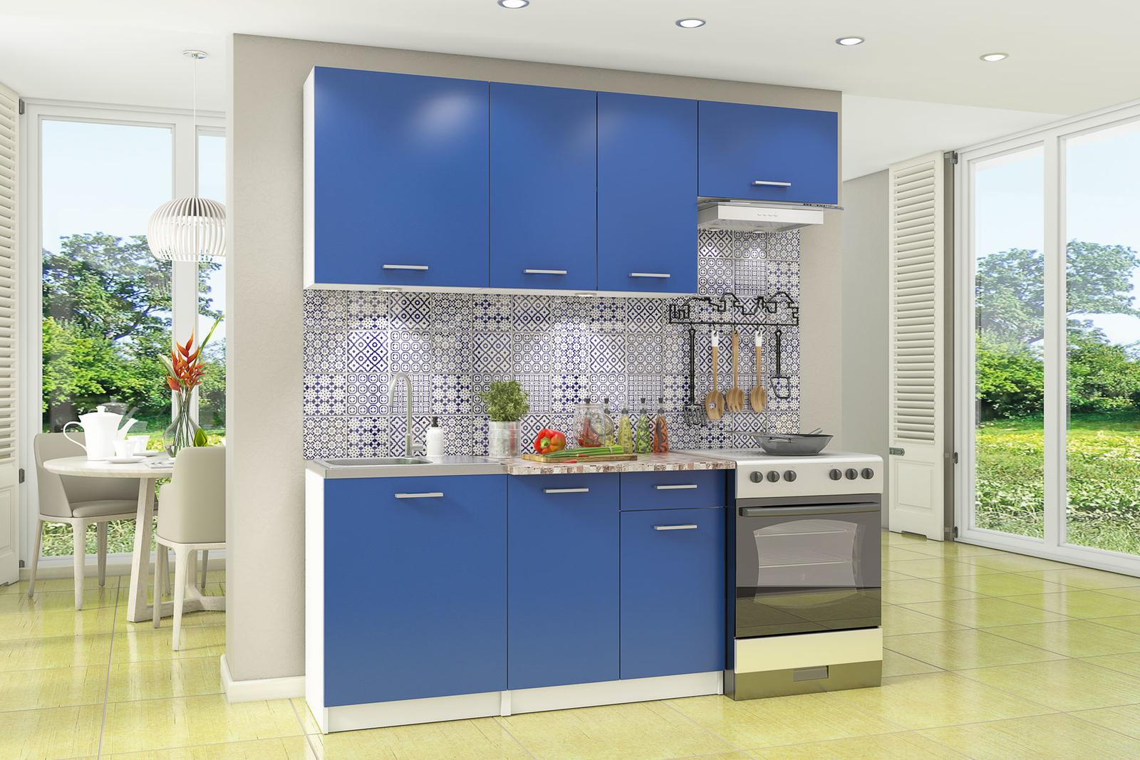 Кухонный гарнитур Адриатика 200 см (белый/синий)