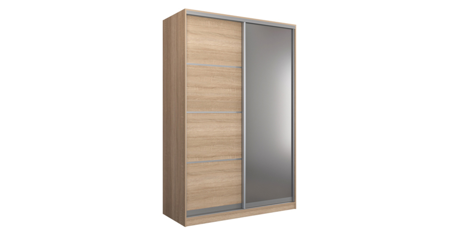 Шкаф-купе двухдверный Манхеттен 160 см (сонома+зеркало)