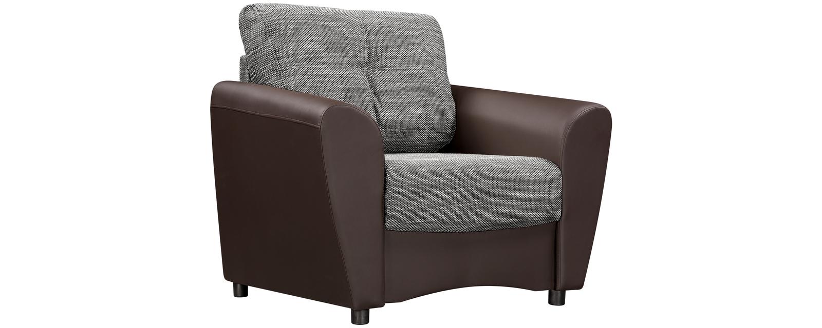 Кресло тканевое Амстердам Sola серый (Ткань + Экокожа)