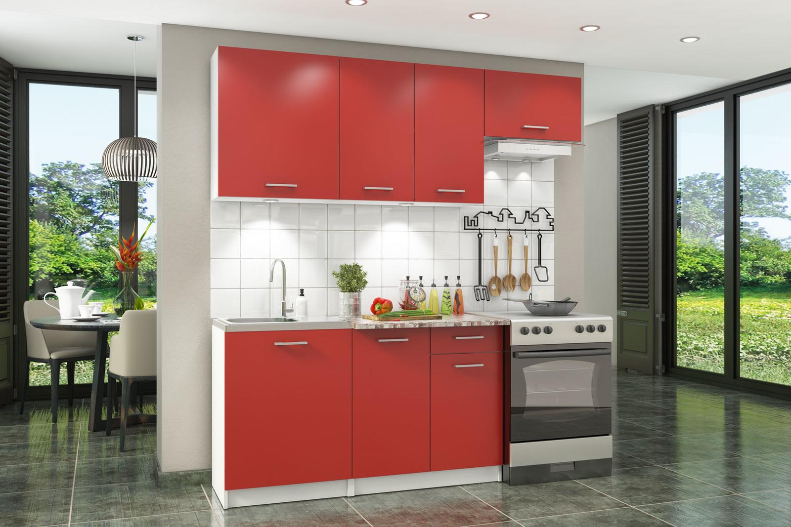 Кухонный гарнитур Перу 200 см (белый/красный)