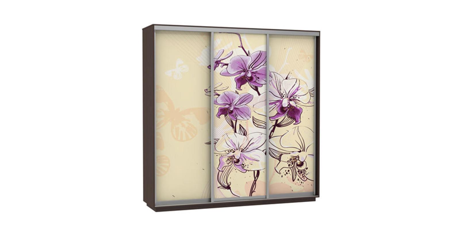 Шкаф-купе трехдверный Байкал 240 см (венге/орхидея)
