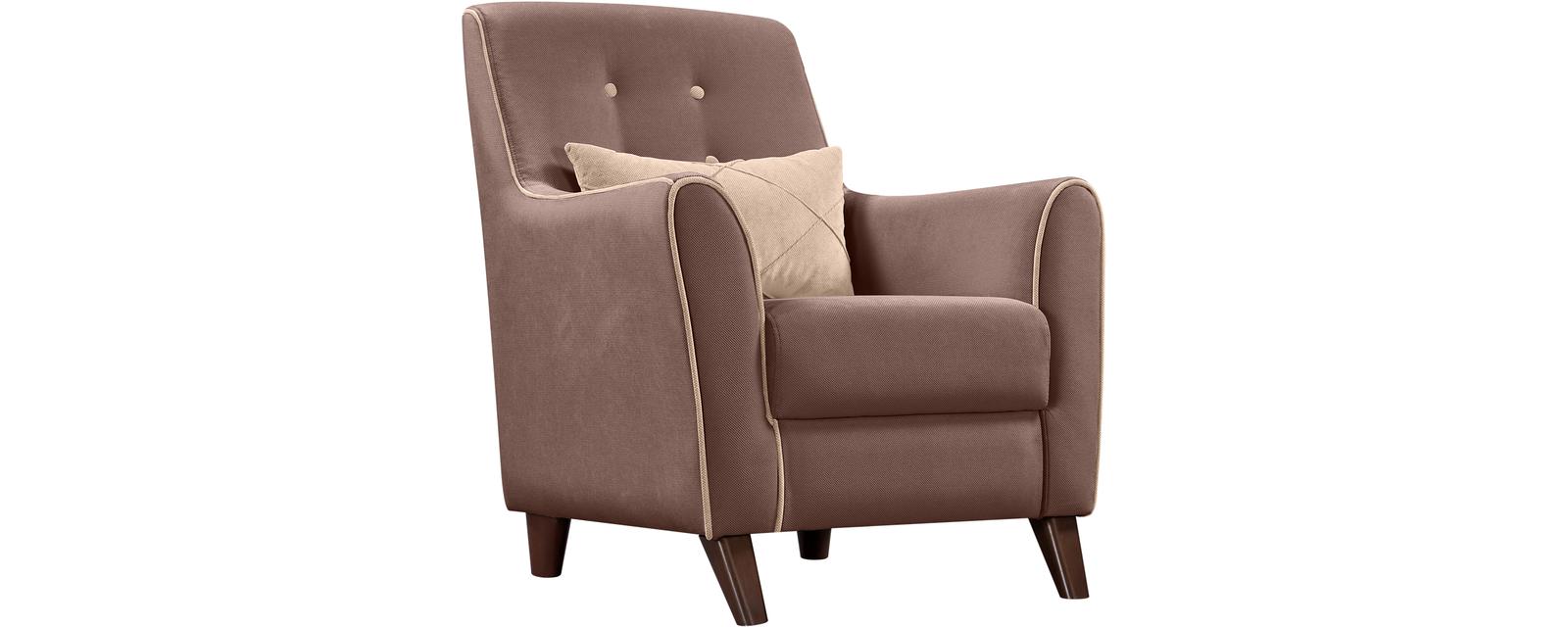 Кресло тканевое Френсис Velure коричневый/бежевая подушка