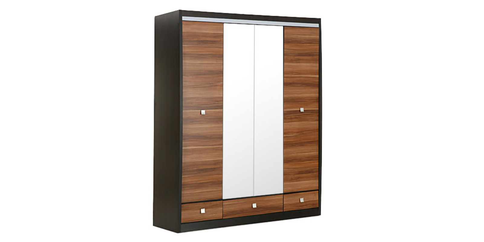 Шкаф распашной четырехдверный Корсика (слива валлис+зеркало/дуб феррара)