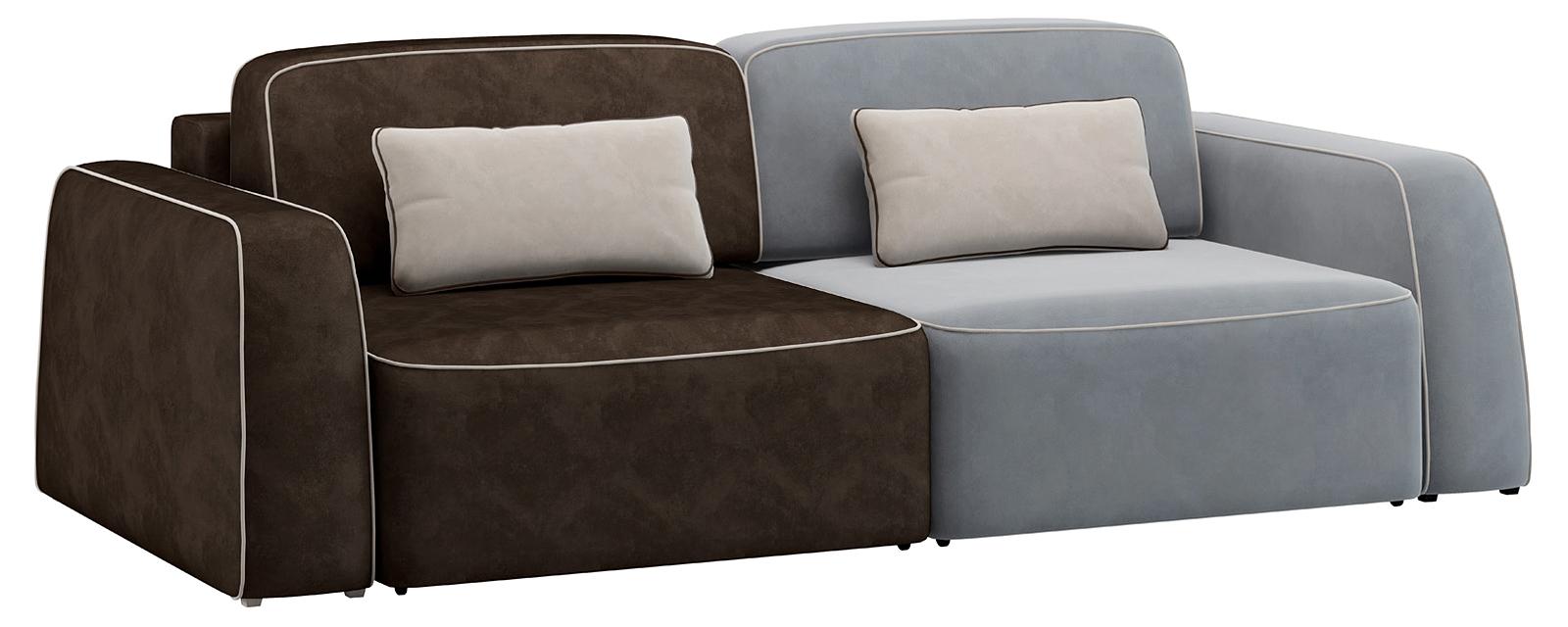 Модульный диван Портленд 200 см Вариант №2 Velutto серый/тёмно-коричневый (Велюр)