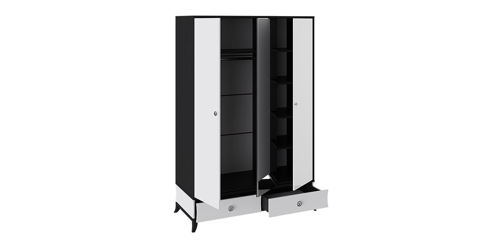 Шкаф распашной трехдверный Париж (черный/белый)