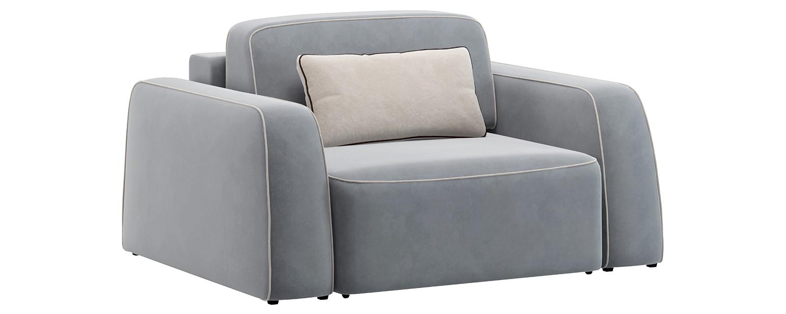 Кресло тканевое Портленд 100 см Velutto серый/бежевый (Велюр)