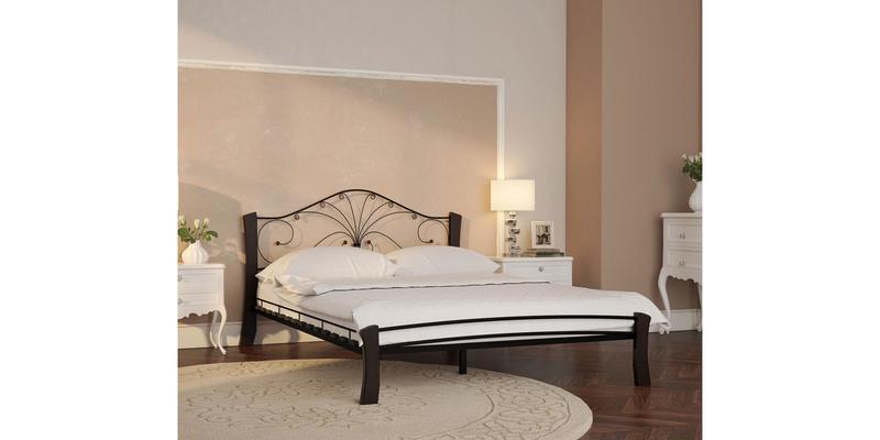 Металлическая кровать 140х200 Фортуна Лайт вариант №4 с ортопедическим основанием (черный/шоколад)