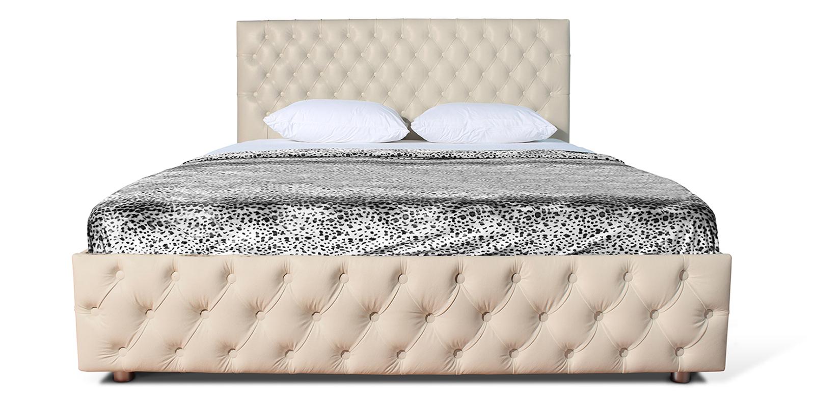 Мягкая кровать 200х160 Малибу вариант №4 с подъемным механизмом (Бежевый)