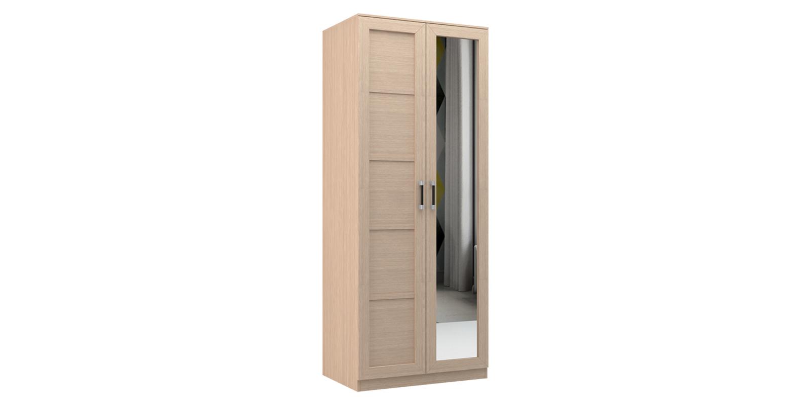 Шкаф распашной двухдверный Дельта (дуб белфорт+зеркало)