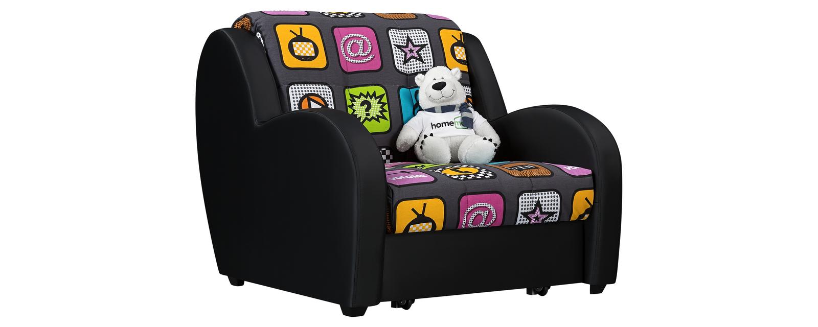 Кресло тканевое Барон Fresh черный (Жаккард + Экокожа) Барон