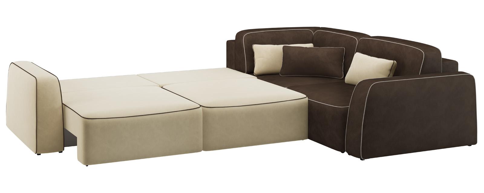 Модульный диван Портленд 350 см Вариант №1 Velure бежевый/темно-коричневый (Велюр) от HomeMe.ru