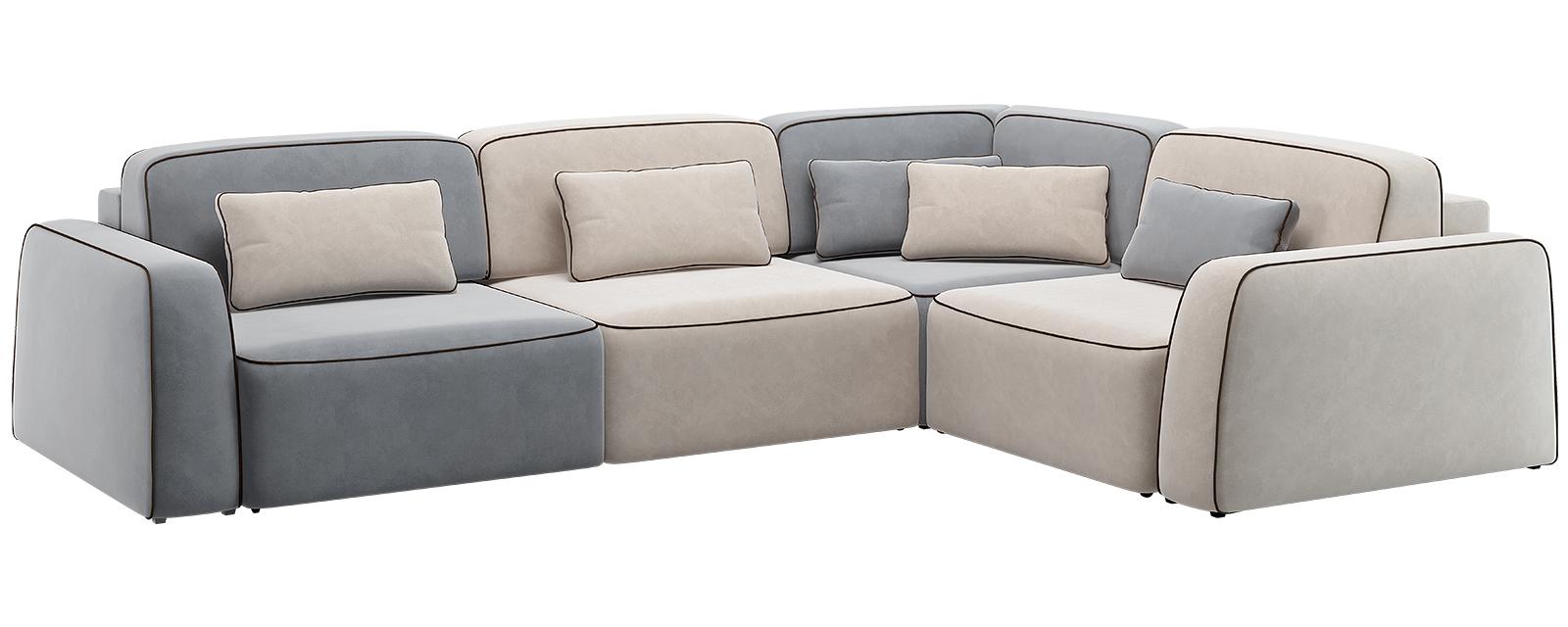Модульный диван Портленд 350 см Вариант №2 Velutto серый/бежевый (Велюр)