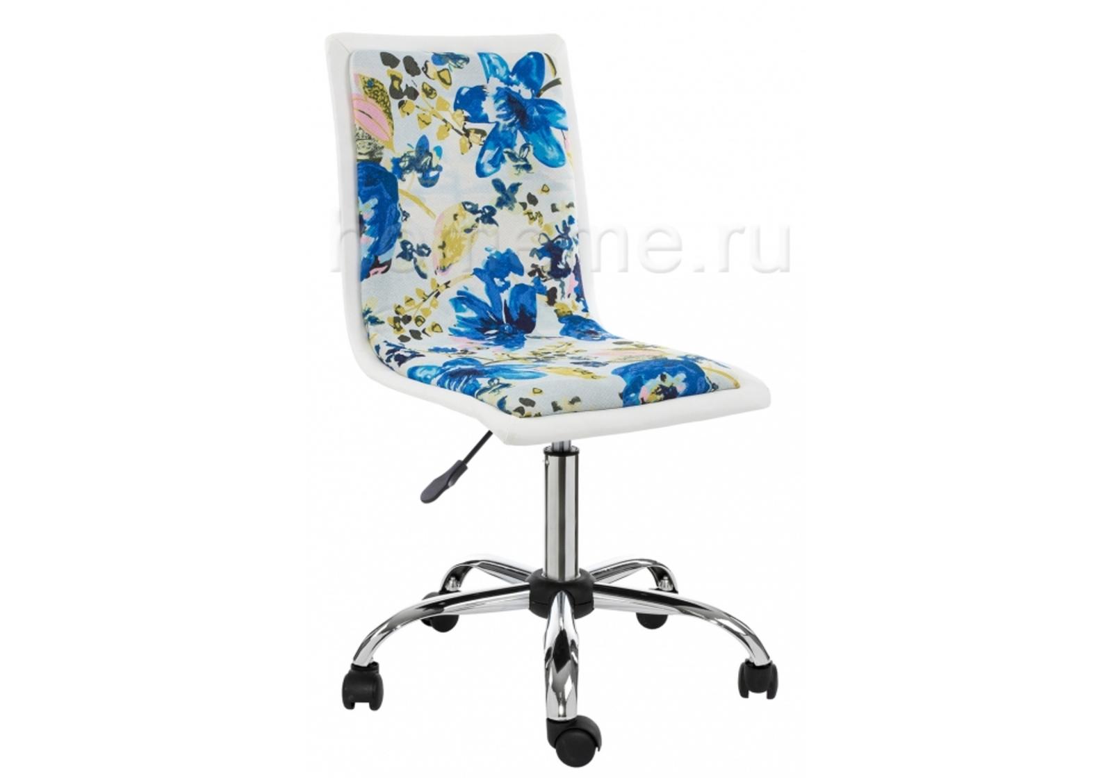 Кресло для офиса HomeMe Компьютерное кресло Mis white / flowers fabric 1925 от Homeme.ru