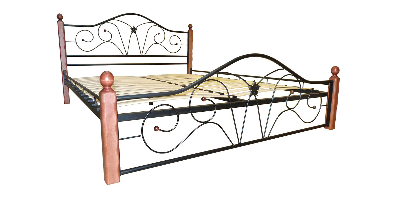 Металлическая кровать 160х200 Селена вариант №1 с ортопедическим основанием (черный/махагон)