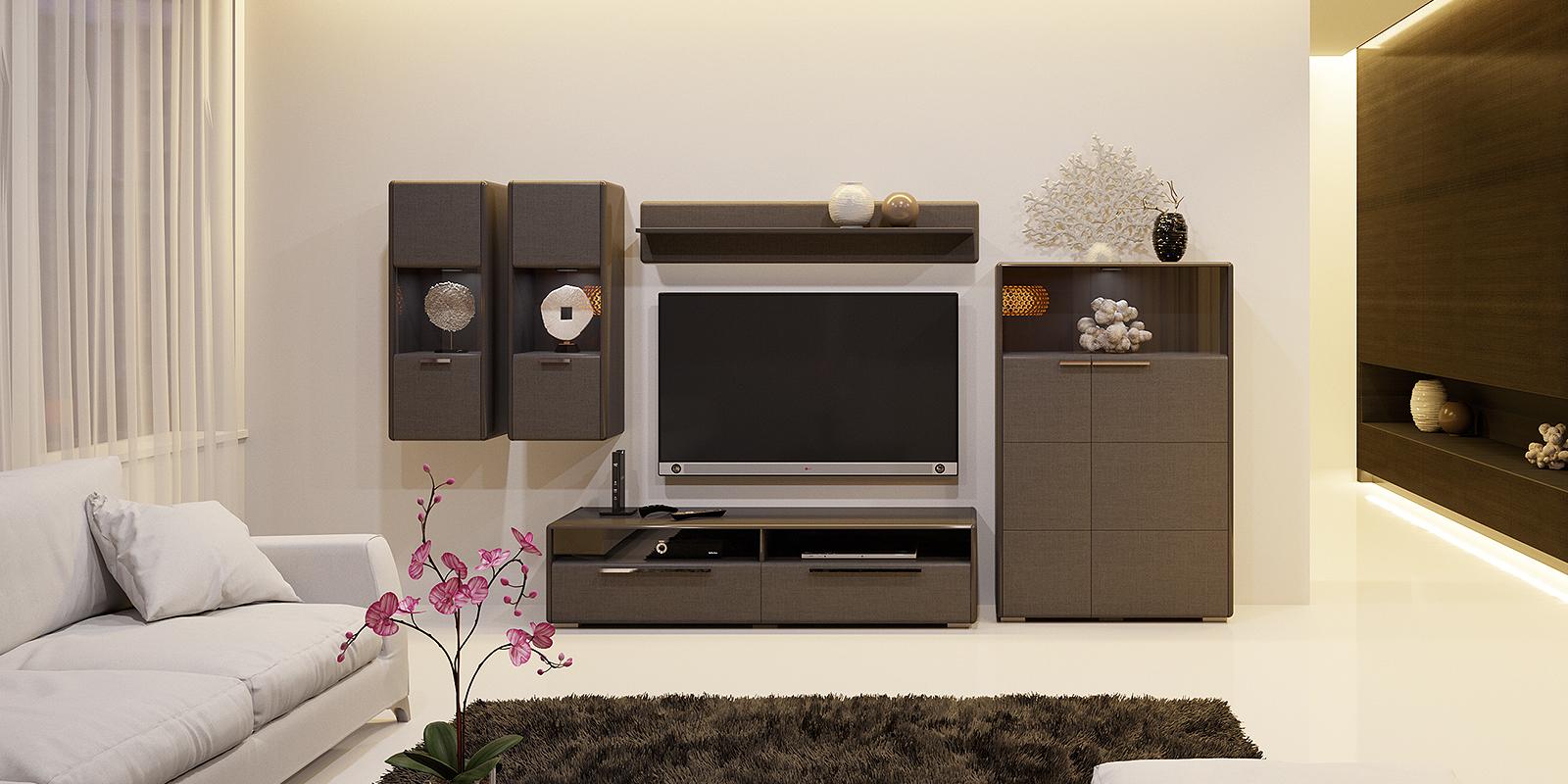 Модульная система Сорренто вариант №4 (серый/коричневый) от HomeMe.ru