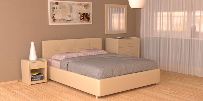 Мягкая кровать 200х160 Малибу вариант №10 с подъемным механизмом (Бежевый)