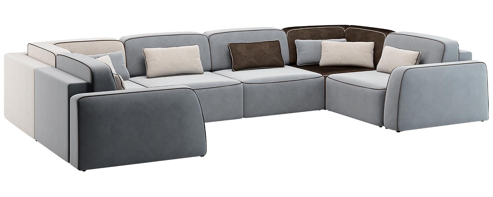 Модульный диван Портленд П-образный Вариант №5 Velutto комбинированный (Велюр)