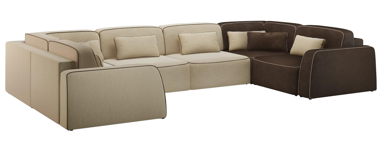 Модульный диван Портленд П-образный Вариант №1 Velure бежевый/темно-коричневый (Велюр)