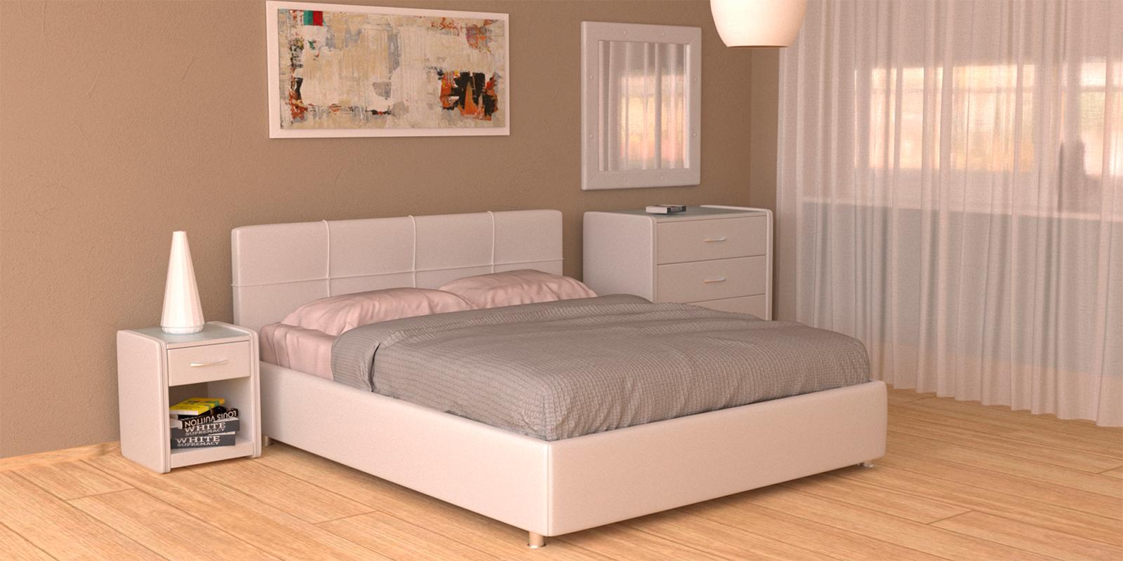 Мягкая кровать 200х160 Малибу вариант №10 с подъемным механизмом (Белый)