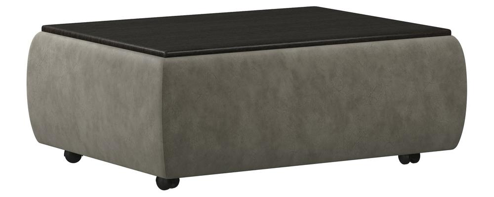 Пуф тканевый каркасный Гавана со столиком Split тёмно-серый (Искусственная замша/венге)