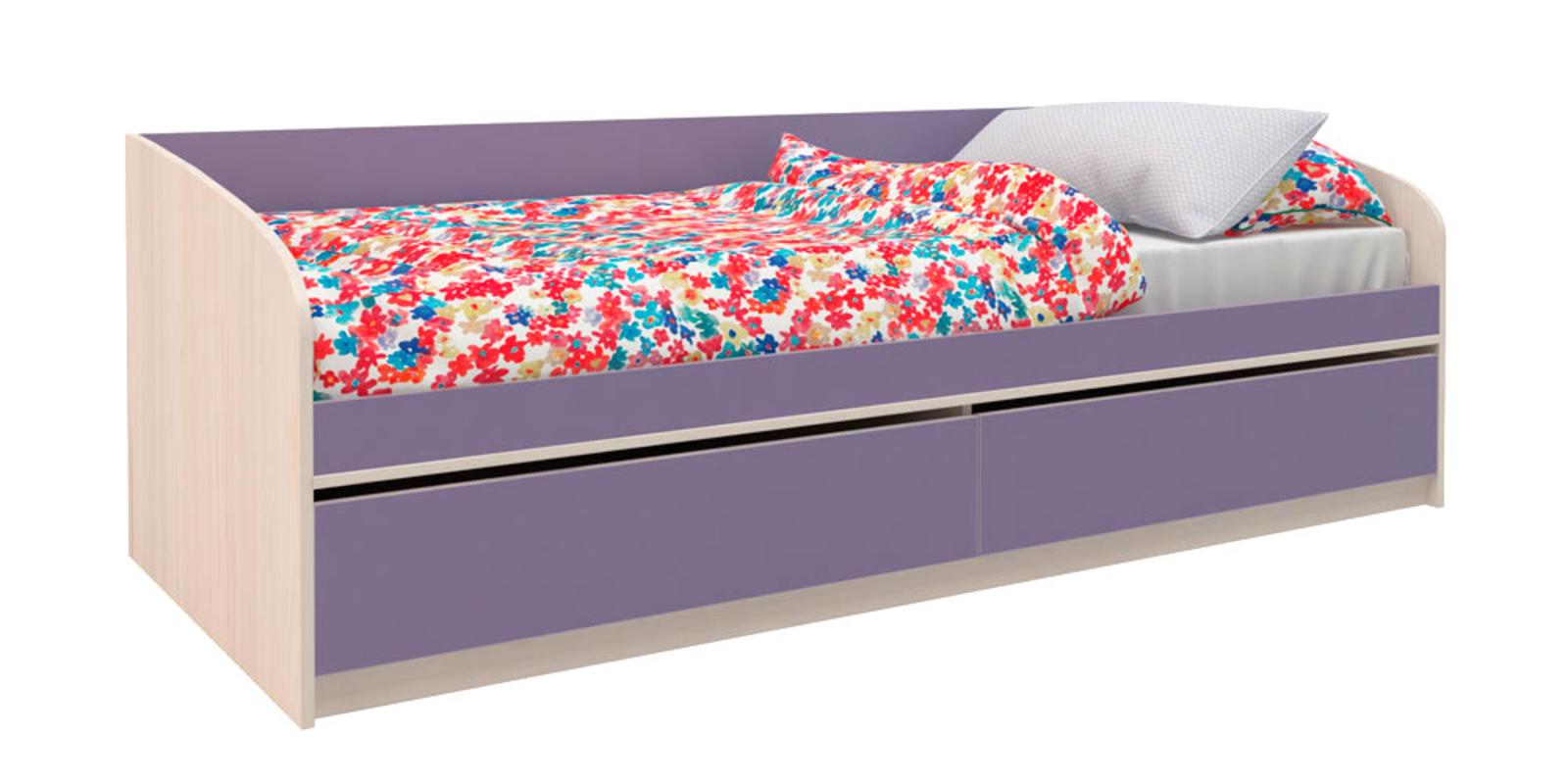 Кровать односпальная Салоу с 2-мя ящиками, без подъемного механизма (каттхилт/лаванда)