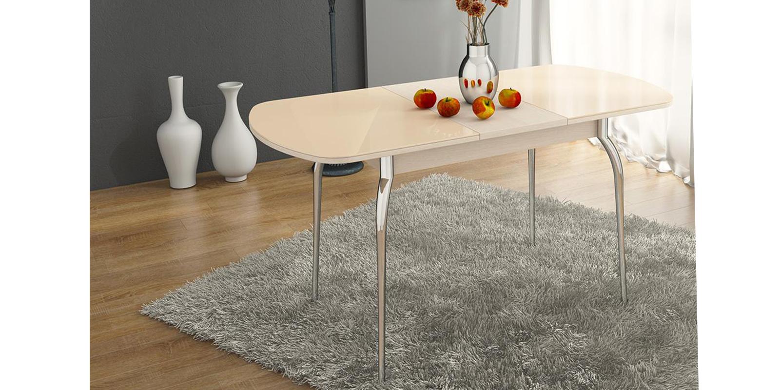 Стол обеденный Квартет (дуб белфорт/стекло бежевое)