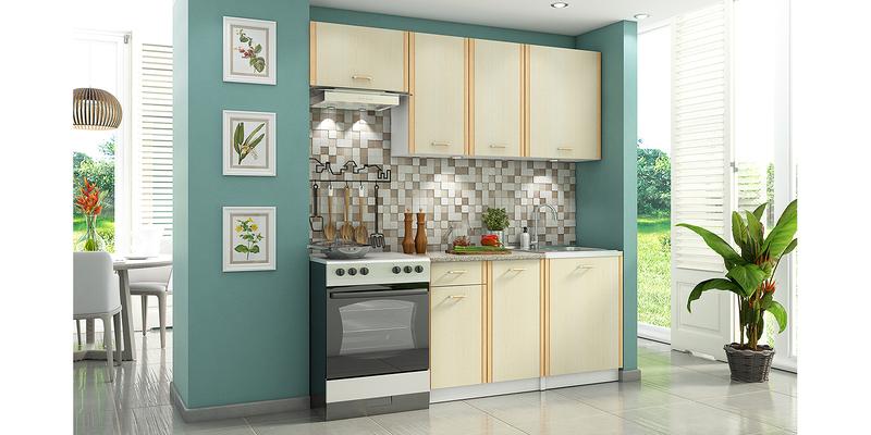 Кухонный гарнитур Лагуна 200 см (белый/дуб кремона)