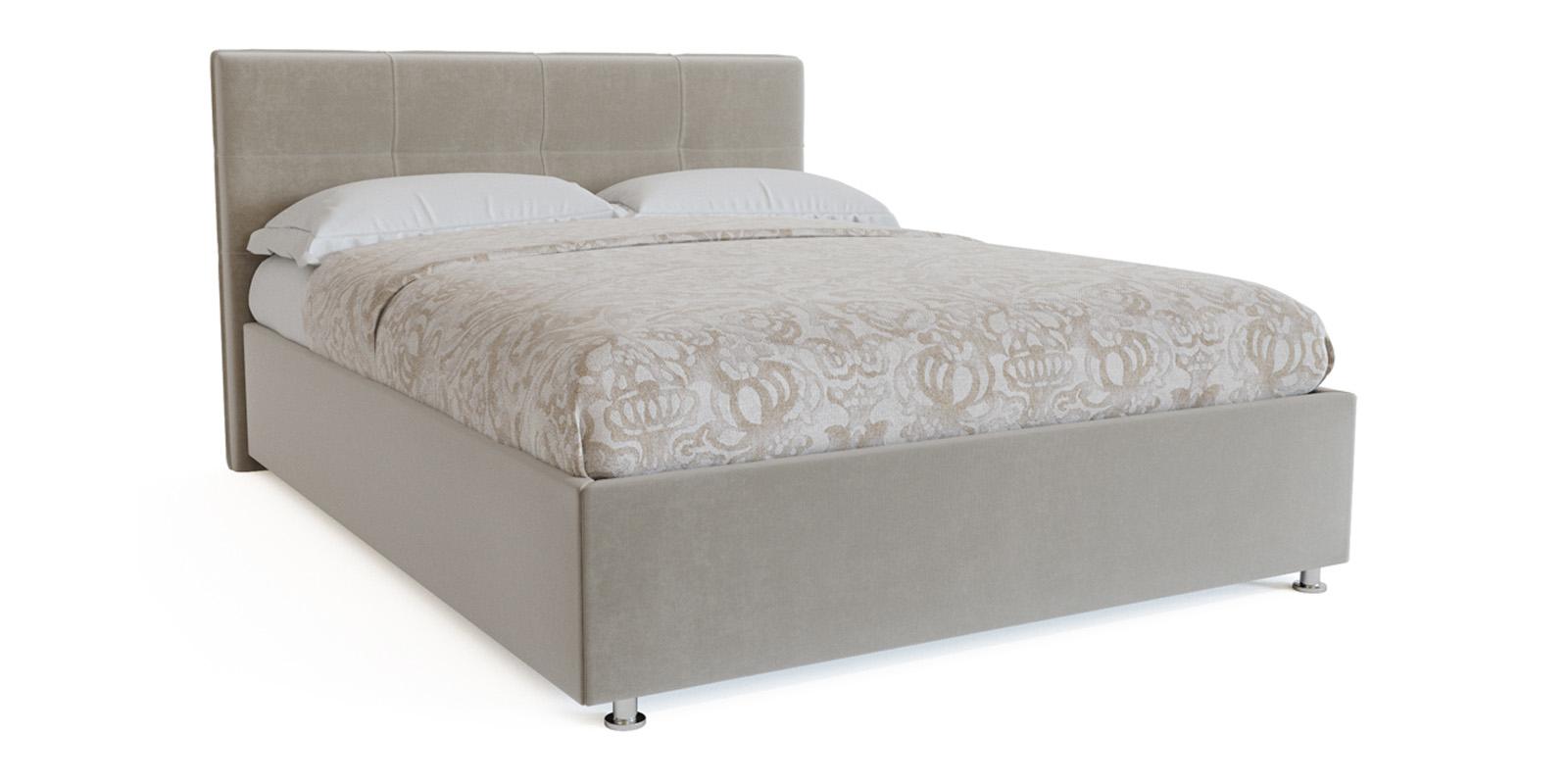 Мягкая кровать 200х120 Неаполь с подъемным механизмом (Светло-серый)