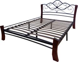 Кровать Венера 4 /160*20/Металл/Черный/Шоколад/