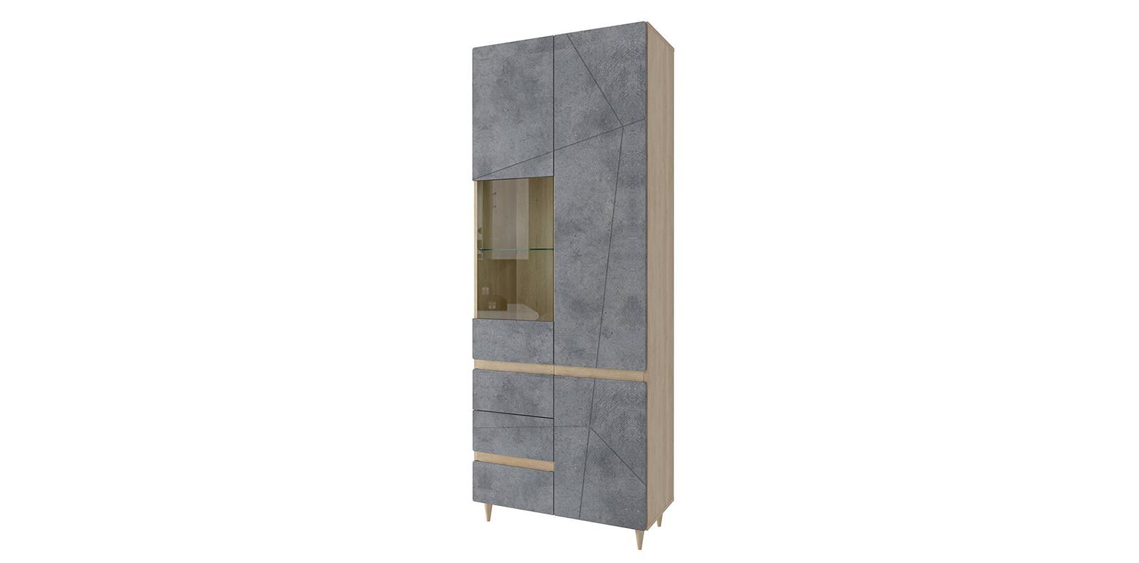 Шкаф распашной двухдверный Монца Шкаф со стеклом Монца (дуб небраска/бетон тёмный) СТЛ.339.02