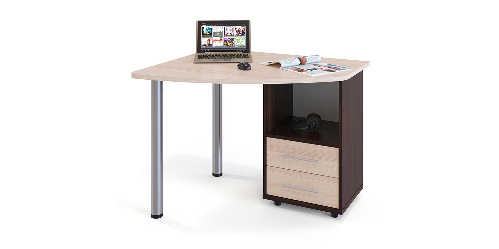 Стол компьютерный Гала правый угол (венге/беленый дуб) Гала
