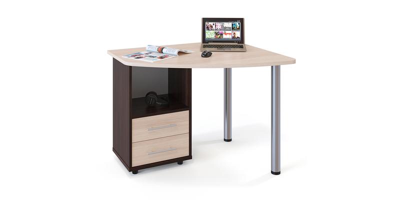 Стол компьютерный Гала левый угол (венге/беленый дуб)