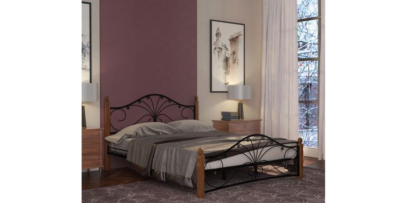 Металлическая кровать 160х200 Фортуна вариант №1 с ортопедическим основанием (черный/махагон)