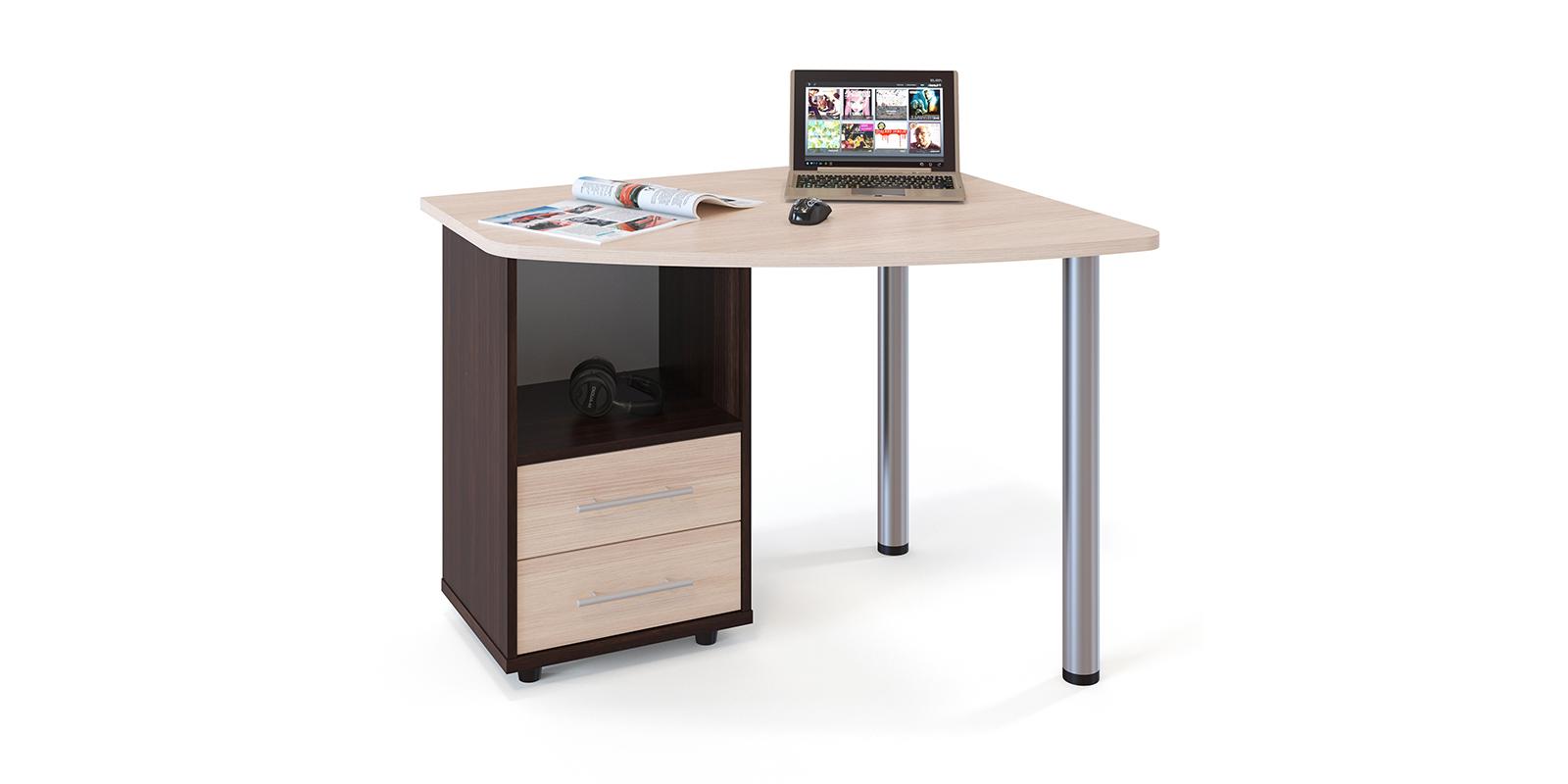 Стол компьютерный Гала левый угол (венге/беленый дуб) Гала
