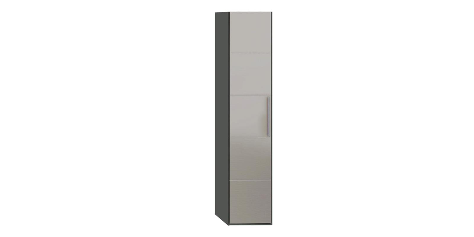 Шкаф распашной однодверный Сорренто торцевой вариант №2 левый (коричневый/зеркало)