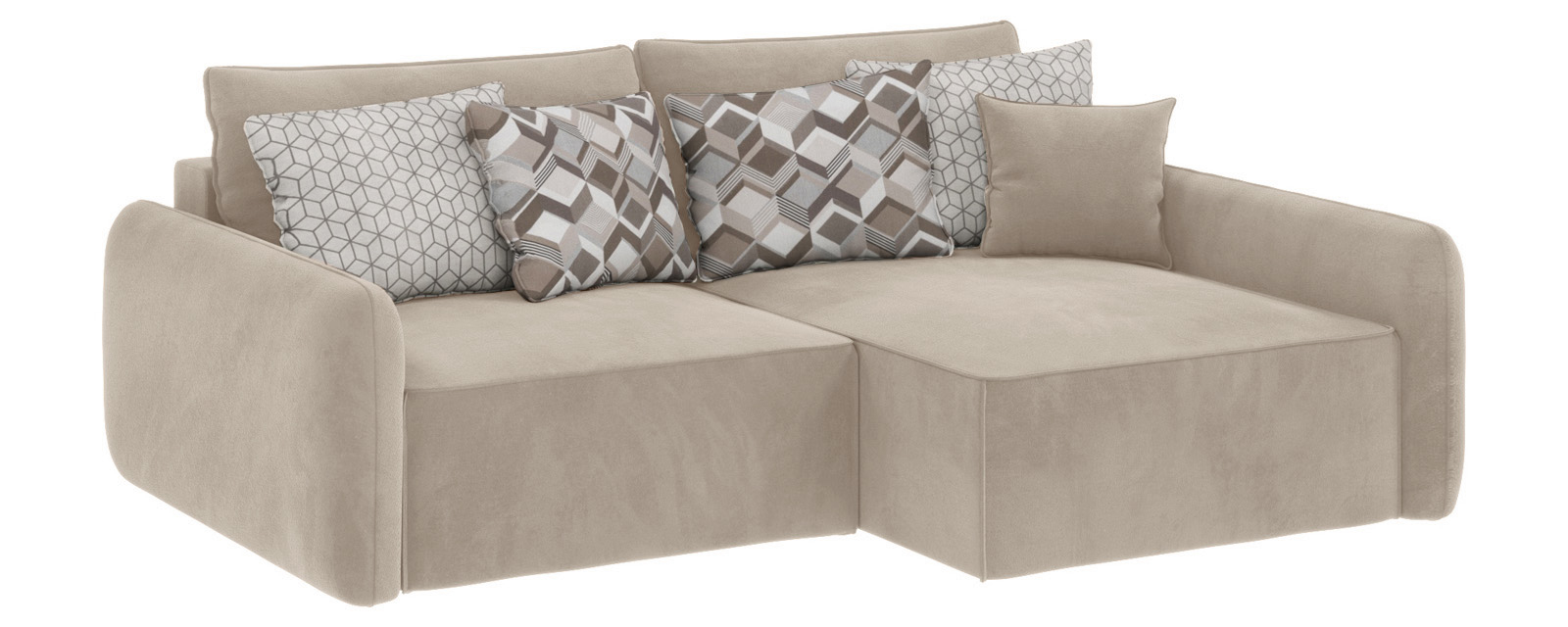 Модульный диван Портленд вариант №4 Soft светло-бежевый (Вел-флок, правый)