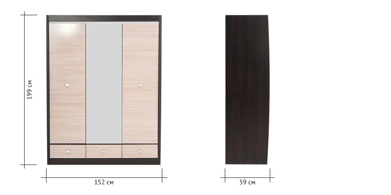 Шкаф распашной трехдверный Корсика (ясень глянец+зеркало/дуб феррара) от HomeMe.ru