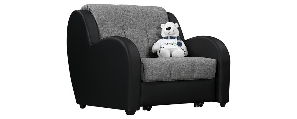 Кресло тканевое Барон Madagascar серый (Рогожка + Экокожа)