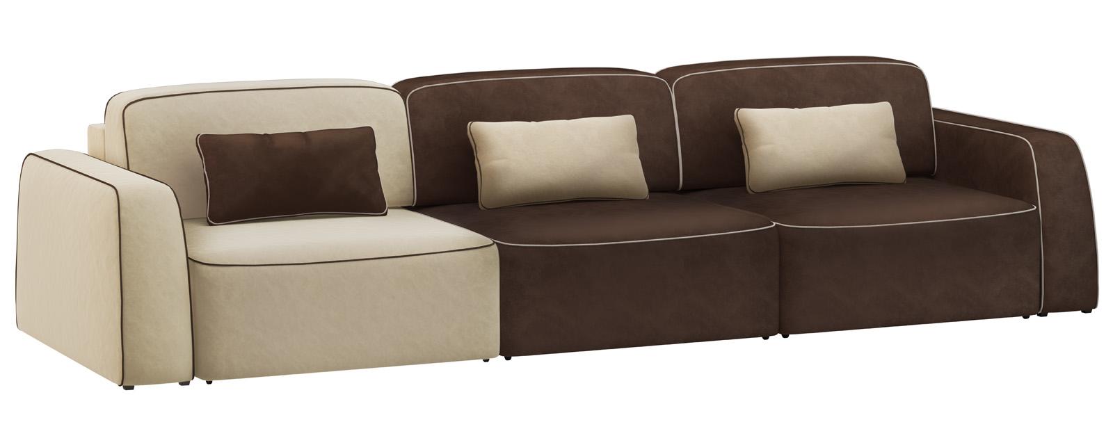 Модульный диван Портленд 300 см Вариант №2 Velure бежевый/темно-коричневый (Велюр) от HomeMe.ru