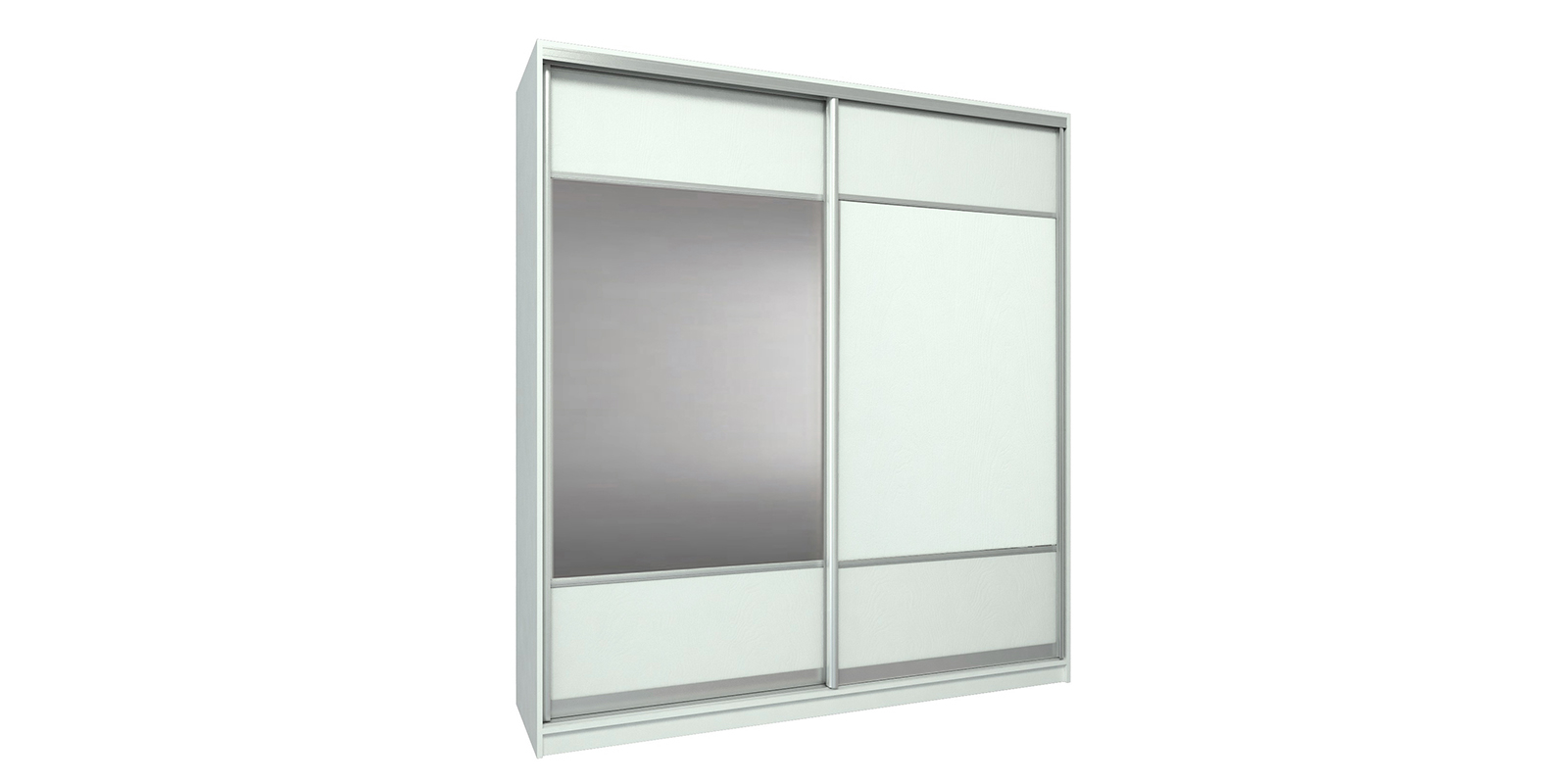 Шкаф-купе двухдверный Бостон 200 см (белый+зеркало)