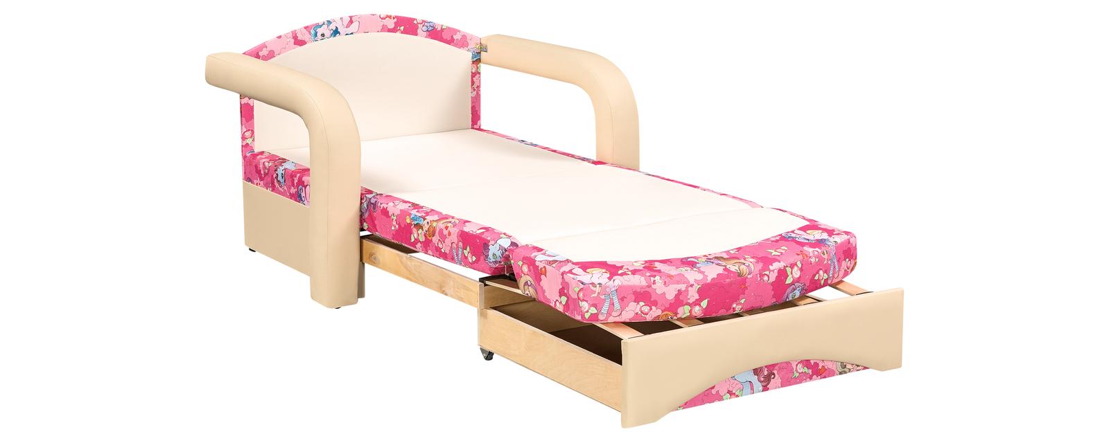 Кресло тканевое Эдем Pony розовый (Микровелюр + Экокожа) от HomeMe.ru