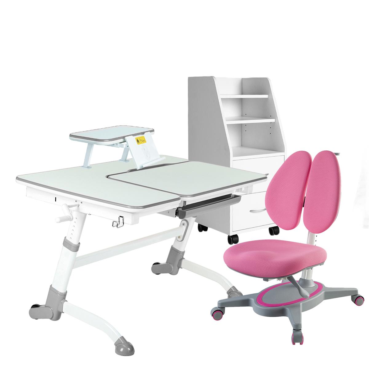 Детская парта Amare комплект вариант №2 (серый/розовый) Amare