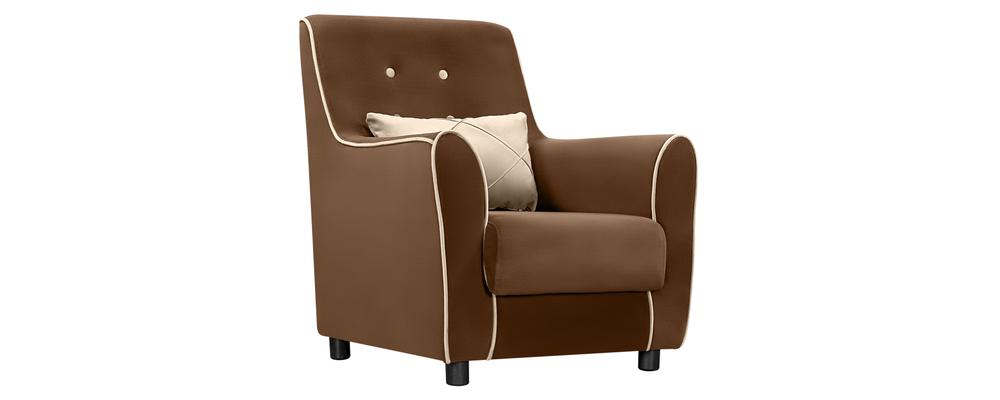 Кресло тканевое Флэтфорд Velure темно-коричневый/бежевый (Велюр)