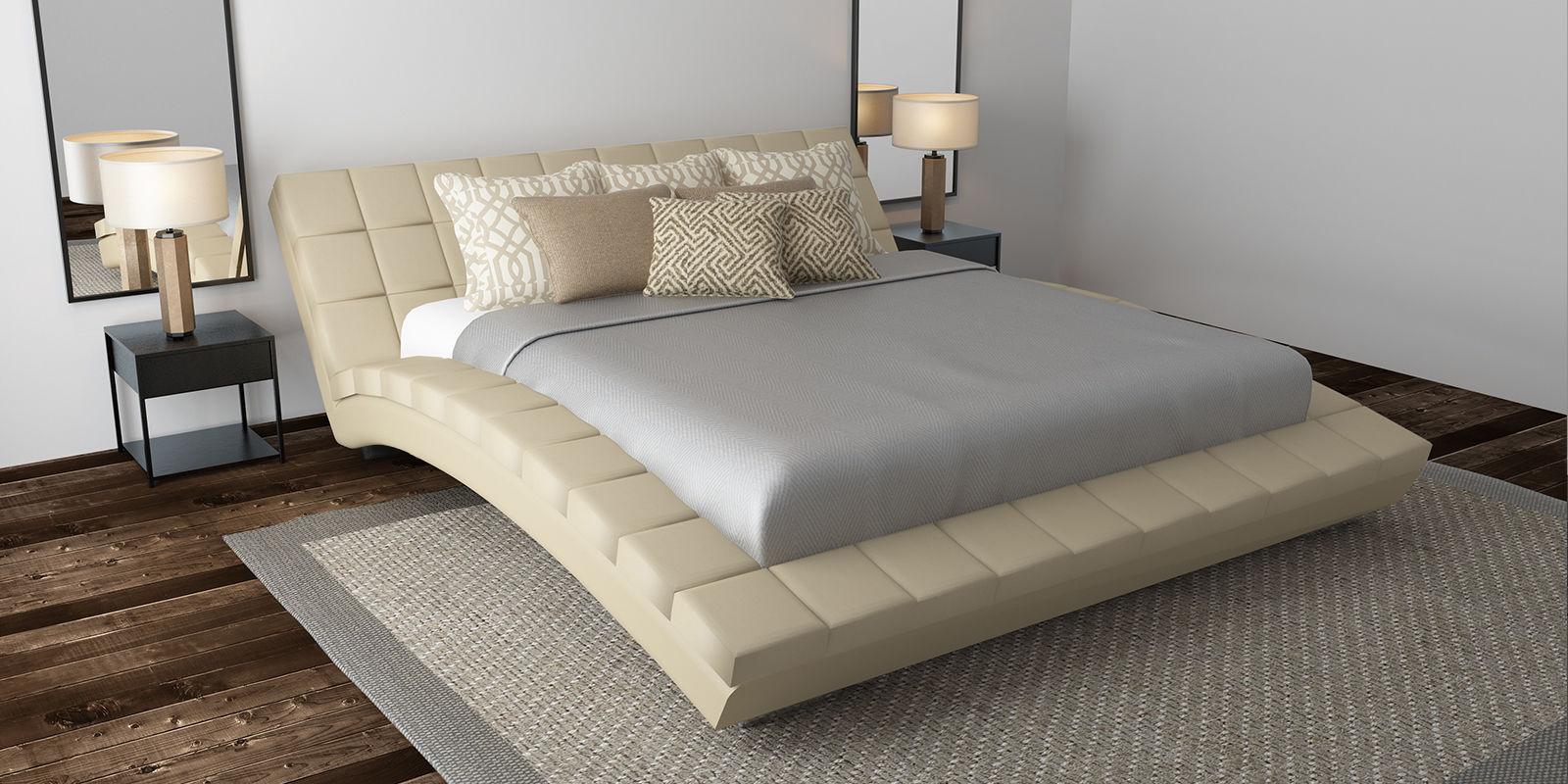 Купить Мягкая кровать 200х160 Оливия с ортопедическим основанием (Luxe бежевый), HomeMe, Бежевый