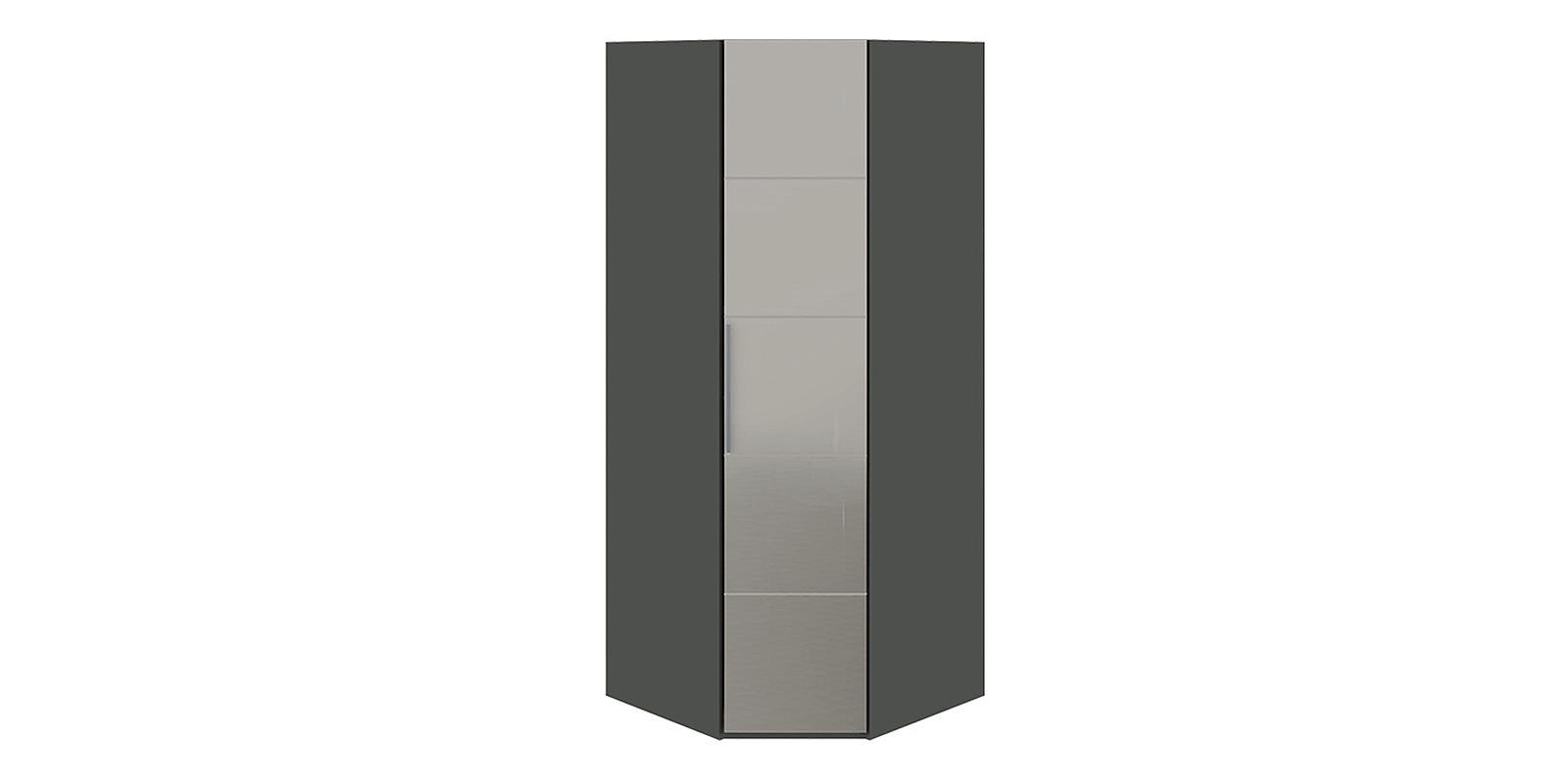 Шкаф распашной угловой Сорренто вариант №2 левый (коричневый/зеркало)
