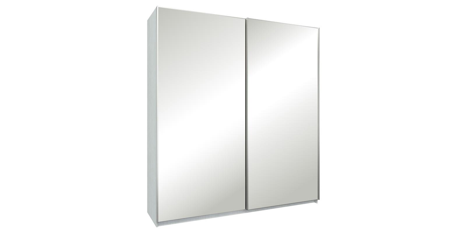 Шкаф-купе двухдверный Лофт 215 см (белый/зеркальный) Лофт