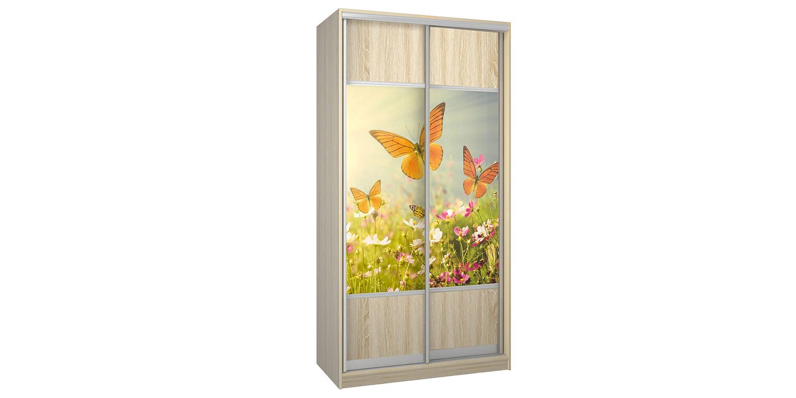 Шкаф-купе двухдверный Бостон 110 см (дуб сонома/бабочки)
