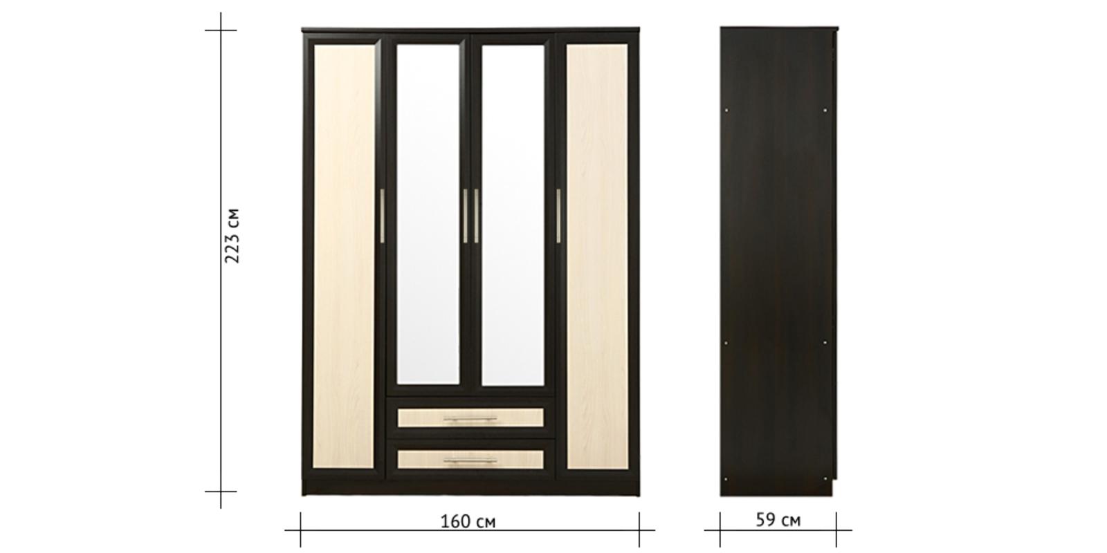 Шкаф распашной 4-х дверный Индиана (дуб феррара/дуб сонома+зеркало)