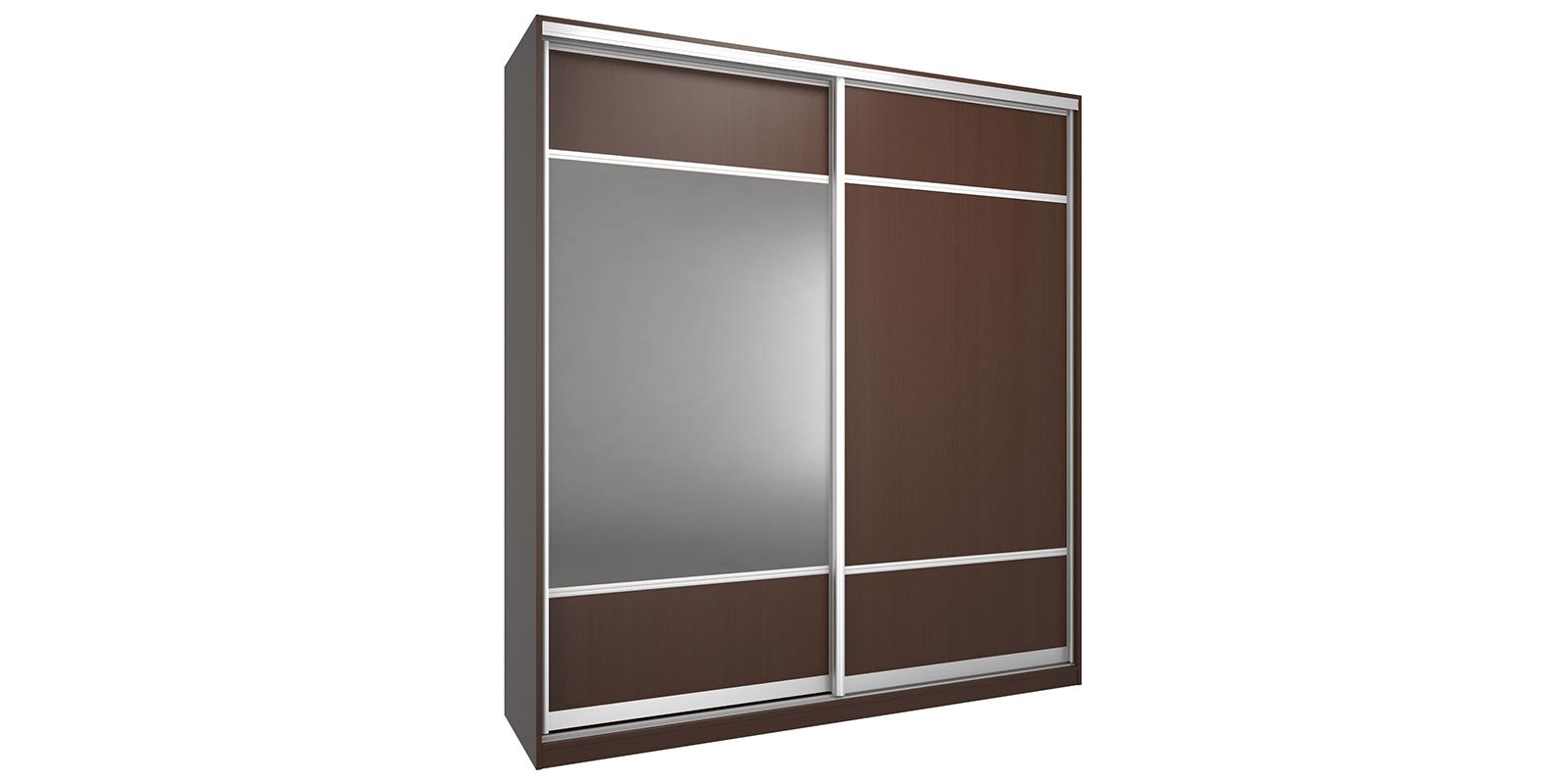 Шкаф-купе двухдверный Бостон 200 см (бук тироль шоколадный+зеркало)